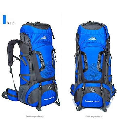 Die neue Outdoor-Sporttasche Bergsteigen Tasche 80 Liter Rucksack mit großer Kapazität Reiserucksack Klammer Bergsteigen Blau
