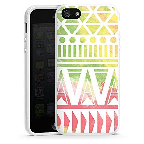Apple iPhone 5 Housse Outdoor Étui militaire Coque Motif Motif couleurs Housse en silicone blanc