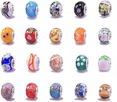 Mix de 20 cuentas de cristal de Murano, compatible con pulseras estilo Pandora, orificio de 5 mm