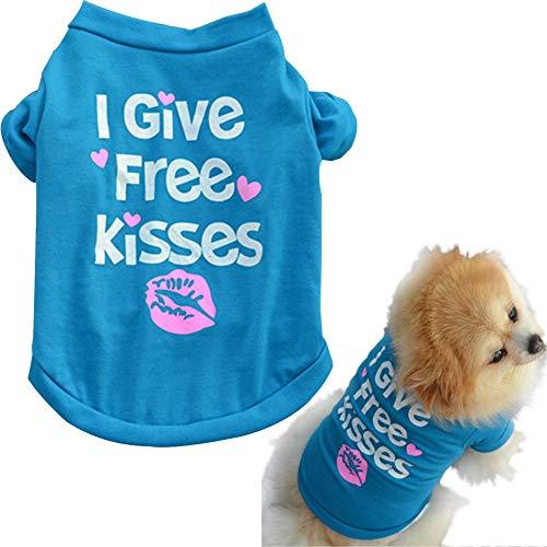 Kostüm Jahreszeiten Kiss - Yichener Haustier Welpen Sommer Shirt Kleine Hunde Katze Haustier I Give Free Kisses Letter Print Kleidung Weste T-Shirt Kostüme Haustier Kleidung für Hunde