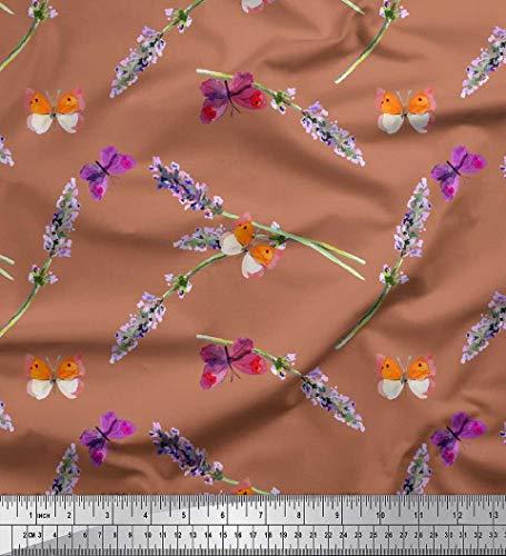 Soimoi Braun strahlkrepp Stoff Schmetterling & Lavendel Blumen- Stoff Drucke Meter 46 Zoll breit