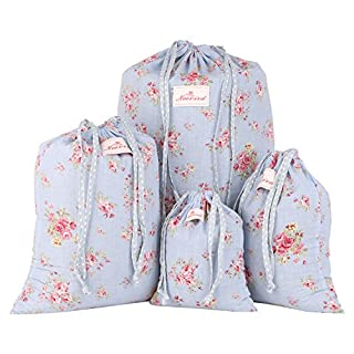 Neoviva Cotton Floral Drawstring Storage Bags for Home and Travel Organisation, Set of 4 in Different Sizes, Floral Ballad Blue