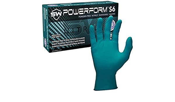 S 6 /½ - 7 Powerform S6 Powder-free Nitrile Disposable Gloves EcoTek Biodegradable 100 teal Single Use