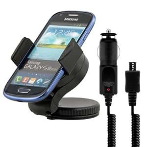 kwmobile Support pour Samsung Galaxy S3 Mini i8190 - Support automobile pour pare-brise ou tableau de bord avec patin adhésif en noir + chargeur