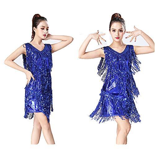 Indische Blaue Kostüm - Bauchtanz Kleid Frauen-Tanzhalle Samba Dance Tango Dance Kostüme Swing Rumba Kleid Metall Pailletten Quaste Damentanzkostüm (Farbe : Blau, Größe : L)