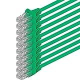 0,25m - verde - 10 pezzi - Rete Cavi Cat6 CAT 6 | 250MHz | non contiene alogeni | compatibile con CAT 5e / CAT6a / CAT7 | 10 / 100 / 1000 / 10000 Mbit / s | per switch, router, modem, Patchpannel, Access Point, pannelli di permutazione