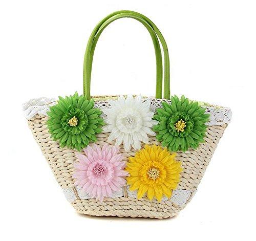 Borse di fiori di paglia Borsa di hust del cereale tessuto di colore delle donne che lavorano a maglia il trasporto libero del merletto Tote verde di spiaggia , deep coffee green