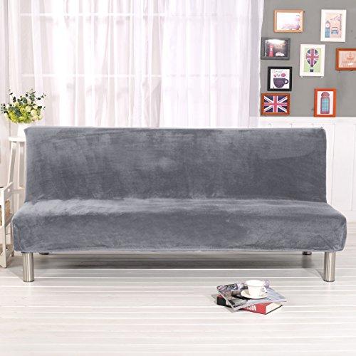 Dicke Sofabettschutzhülle unifarben Sofa-Schonbezug Stretch Elastischer Stoff Sofa-Bett inkl. Strechhusse armlos Schutzhülle für Sofabett Haustier Hunde , hellgrau, 180-210CM