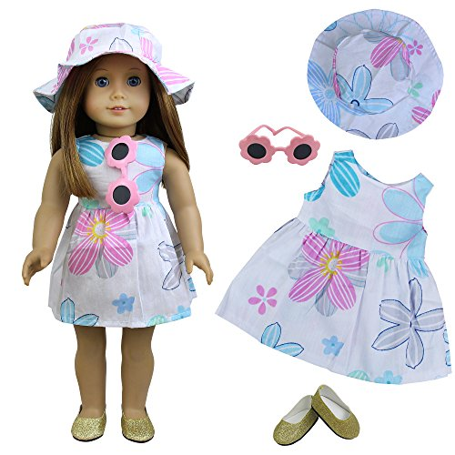 Girl American Dolls-outfits (ZITA ELEMENT Set Puppe Kleidung Strand Outfits Dress Hut Sonnenbrille Schuhe für 18 Zoll American Girl Doll 45-46cm Puppen Sommer Urlaub Zubehör für Barbie Spielzeug)