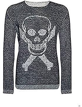 Zara Fashion-Le Donne Skull & Bone Stampa maniche lunghe maglione ponticello