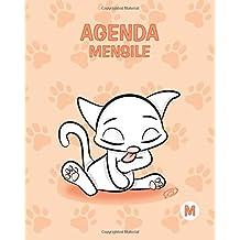 Agenda mensile - M: Colore Pesca - Gatti - Perpetua (Senza date) - 15x19 cm