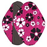 Ularma Reusable Charcoal Bamboo Mama Pads/ Menstrual Pads Cloth/ Sanitary Napkins Pad -Night time protection (M, Hot Pink)