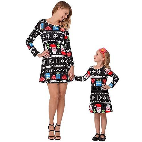 Beginfu Weihnachten Kleinkinder Kinder Mädchen Buchstaben Herz Print Kleid Outfits Kleidung Beiläufig A-Linie Kleid Stilvoll Prinzessinkleid Blumenkleid Niedliches Verspieltes Oberteil