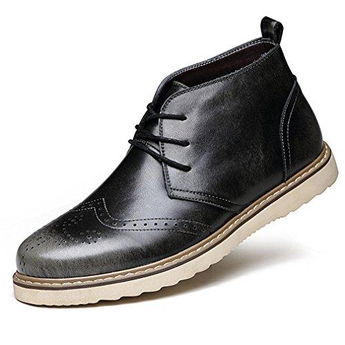 Negro Hombre Acento Encaje Escultura De Botas En Suave Botas Del Piel Martin De Zapato O8xSq5xg