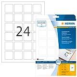 Herma 10108 Etiketten quadratisch, ablösbar, wieder haftend (40 x 40 mm) weiß, 600 Aufkleber, 25 Blatt DIN A4 Papier matt, bedruckbar, selbstklebend, Movables