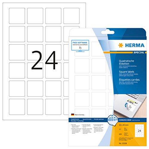 HERMA 10108 Universal Etiketten DIN A4 ablösbar (40 x 40 mm, 25 Blatt, Papier, matt, quadrat) selbstklebend, bedruckbar, abziehbare und wieder haftende Adressaufkleber, 600 Klebeetiketten, weiß