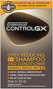 Just For Men Control GX Grey Reducing 2 in 1 Shampoo and Conditioner, Gradually Colors Hair, 4 Ounce