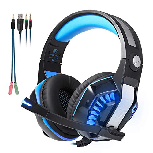 Happyroom Beexcellent gm-2 Gaming Headset mit Mikrofon LED Gaming Kopfhörer für Xbox One, Laptop, Tablet, die meisten Smartphones mit Einem gratis Y Splitter (Blue, GM-2) 01 Xbox 360 Headset