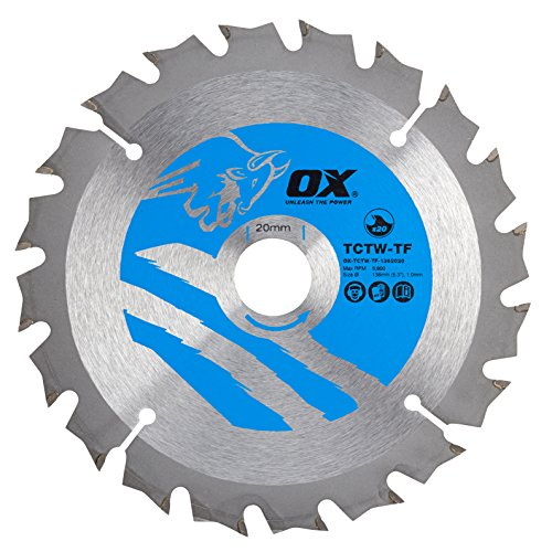 OX Tools OX-TCTW-TF-1362020 OX Wood Cutting Thin Kerf Circular 136/20mm, 20 Teeth ATB Saw Blade, Silver/Blue, 136/20 mm