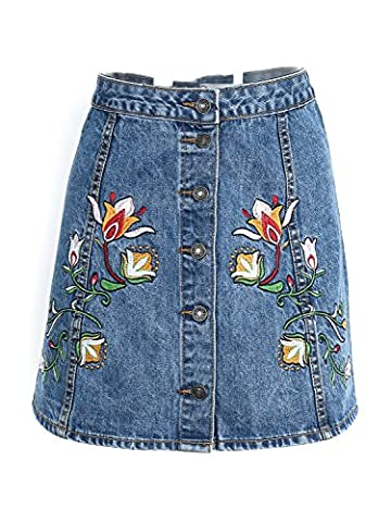 Glamaker Women's Casual Embroidery Denim Mini Skirts Floral Short Jeans Skirt Blue