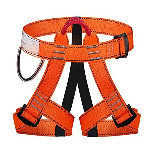 Imbracatura da Arrampicata Imbracatura di Sicurezza Kit Ferrata Con Fibbia Regolabile Donna Uomo Bambino Mezza Imbracatura di Guida Orange