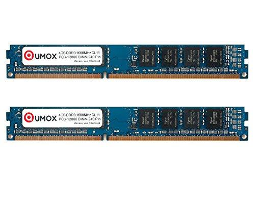 QUMOX 8GB (4GBx2) 1600 DDR3 4 GB PC3-12800 DIMM PC3 Arbeitsspeicher RAM Speicher 240 CL11 Stift