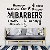 Barber Shop Vinyl Wall Decals Comb Scissor Beauty Salon Decoration Barber Shop 42x65cm
