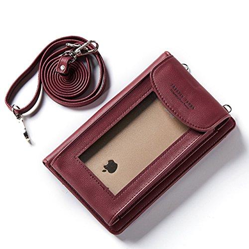 Téléphone Sac,Vandot 2in1 PU Cuir Mini Pochette Universal Case (180mm*120mm*20mm) pour iPhone 7(4.7)/7 Plus(5.5)/6S(4.7)/6S Plus(5.5)/SE/5/5S,Galaxy S3/S4/S5/S6/S7edge/Note 3/4/5 Housse Hippie Style P DKW-Rouge Vineux