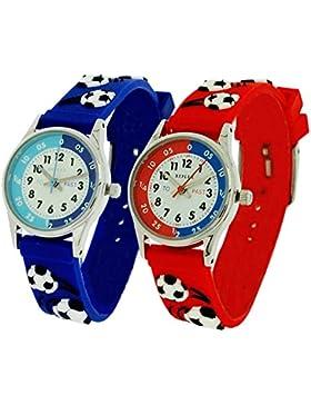 2 X Reflex Jungen 3D Fußball Zeitlernuhr blau & rotes Stoffarmband + Uhr Lesen Urkunde
