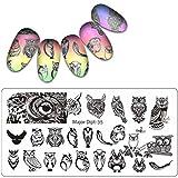 Sunnymi DIY Nagelplatten Nagellack Pulver Gel Matt ❤️ Nagel Kunst Stempelplatten ❤️ schnell langlebig Nail Art Vorlage Stempel Malerei (E)