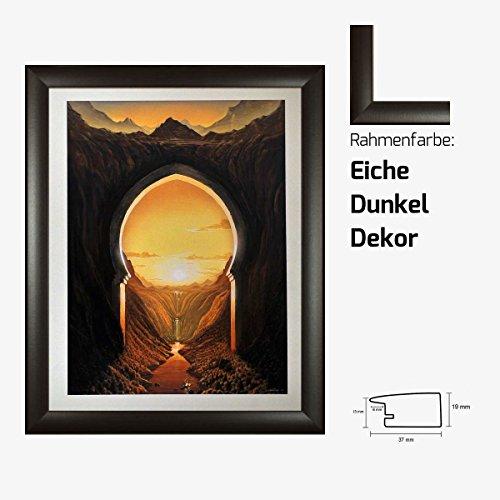 Kunstdruck Tor ins Paradies Landschaftsmotiv Sonne Wasserfall Berge gemalt 40 x 50 cm mit MDF-Bilderrahmen Pisa & Acrylglas reflexfrei, viele Farben zur Auswahl, hier Eiche Dunkel Dekor -