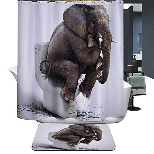 Harson&Jane Hochwertige Digitaldruck dickerem Material ist wasserdicht DuschvorhangGröße:180*180 180*200 (180*180, Elefant)