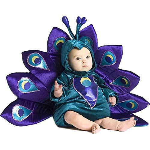 Deluxe Pfau Baby Kinder Fasching Halloween Karneval Kostüm mit Pailletten veredelt (68-80)