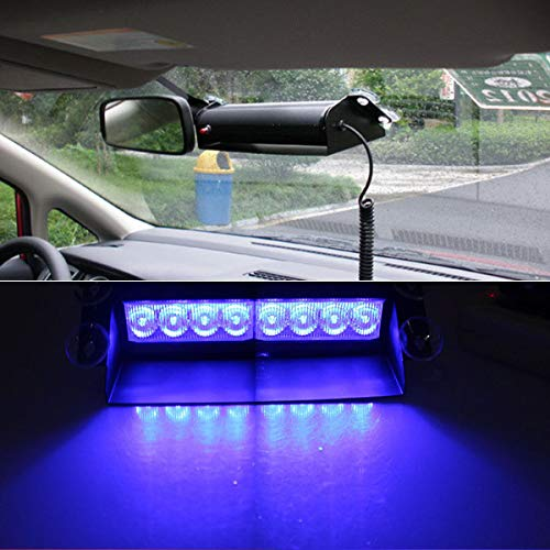 8 led pare-brise haute intensité Dash stroboscopique d'urgence Flash Warning Light Bar, Law Enforcement Strobe feux de détresse avec support ventouse,Blue