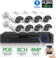 4MP 8CH POE Security Camera System Kit H.265 Audio Record IP Camera IR Outdoor WiFi Home Camera Waterproof CCT