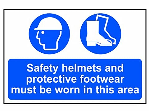 Scan 4001 400 x 600mm PVC Safety Helmets Plus Footwear To Be Worn Sign