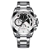 QRMH Männer Business Sports Silver Watch Edelstahl Strap Wasserdichten Analog-Timing-Kalender Multi-Funktion Wrist Watch
