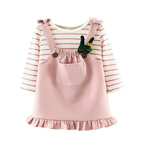 Baby Mädchen Kleider TUDUZ Kleinkind Outfits Kleidung Streifen T-shirt Tops + Rock Kleid Set Prinzessin Kleid kinder Party Kleid (Rosa, 6-12 Monate) (12 Mädchen Kleider 10 Für Ball)