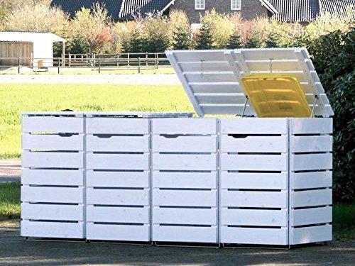 4er Mülltonnenbox / Mülltonnenverkleidung 120 L Holz, Deckend Geölt Weiß
