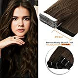 16inch , 4# : Neitsi 20pcs/pack 100% Tape in Human Hair Weft Extension Straight Glue Hair Weft (16inch, 4#)