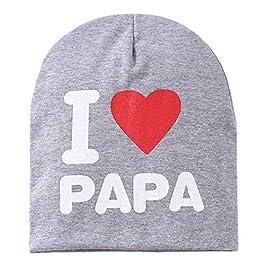 Bambini Stampa per bambini Berretto a maglia I Love Mama Cappello in cotone Unisex Cappello per bambini Lettera Cappello per bambini da 0 a 3 anni – Grigio