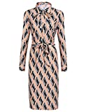 Finejo Damen Rockabilly 50er Vintage Retro Kleid Swing Kleider Langarm Hemden Kleid Lang A-Linie (L, Rosa-2)
