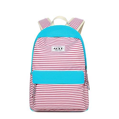 Striped Drucken Casual Canvas Rucksack Reise Laptop Tasche Schultasche Leichte Rucksäcke für Teen Junge Mädchen Rose rot