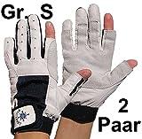 2 Paar BluePort Damen Herren Segelhandschuhe Gr. S / 7 aus Leder - 2 Finger frei
