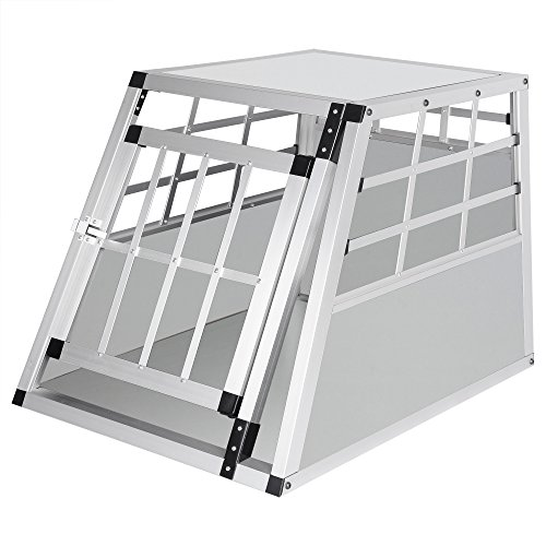 Hundebox Hundetransportbox Aluminium Transportbox Alubox Hund 1 Türig Reisebox Gitterbox Weiss HT2012ws
