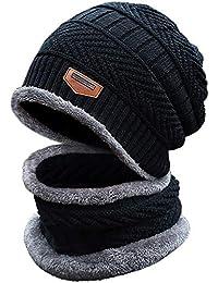 335f6802e85 TACVASEN Unisex Winter 2 in 1 Warm Fleece Lined Rib Knit Skullies Beanies  Hat And Circle