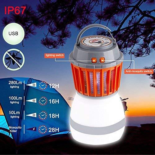 Along lanterna da campeggio antizanzare, insetticida elettronico portatile e con impermeabilità ip67, 2 in 1 led luce notturna, luce uv, zanzara killer, gancio retrattile e paralume rimovibile
