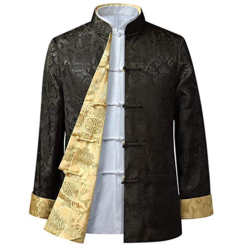 BOZEVON Männer/Frauen Chinesische Tang-Anzug Oberseiten - Beide Seiten Beschichten Jacke langärmelige Kampfkunst Kung Fu Hemden Chinesische Tang-Klage Nationale Kostüme, XL/Stil 04 - Männer