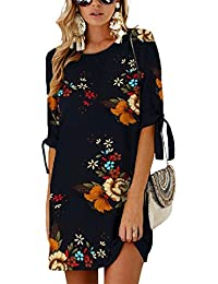 c0c408310e72 YOINS Women Mini Dresses Summer T Shirt Tunics Self-tie Half Sleeves Solid  Crew Neck