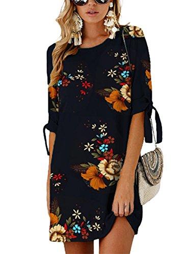 YOINS YOINS Sommerkleid Damen Tshirt Kleid Rundhals Kurzarm Minikleid Kleider Langes Shirt Lose Tunika mit Bowknot Ärmeln blau-01 EU32-34(Kleiner als Reguläre Größe)